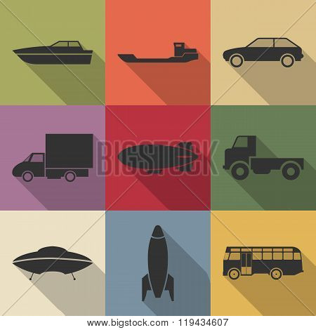Transport Icons, Vector Illustration.