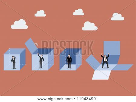 Businessman Is Getting Out Of The Box