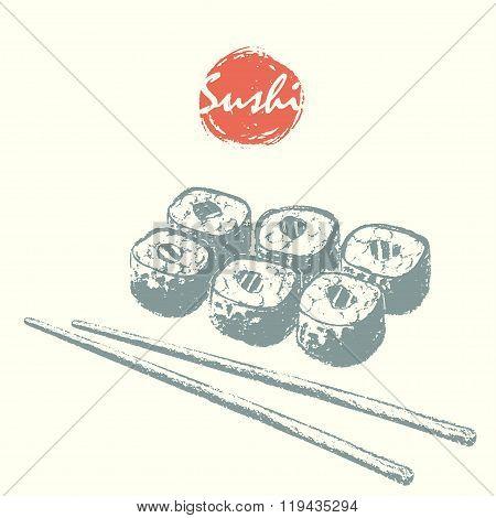 Hand Drawn Sushi Rolls and Sticks