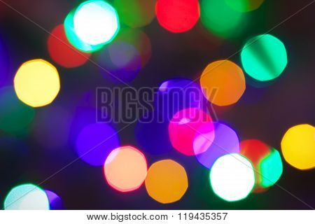 Elegant Abstract Background With Bokeh Defocused Lights. Abstract Circular Bokeh Background Of Chris