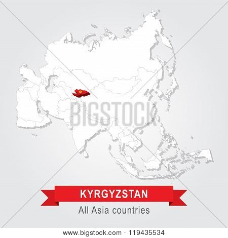 Kyrgyzstan. All the countries of Asia. Flag version.