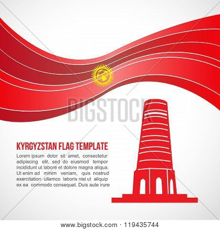 Kyrgyzstan Flag Wave And Burana Tower Vector Template