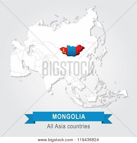 Mongolia. All the countries of Asia. Flag version.