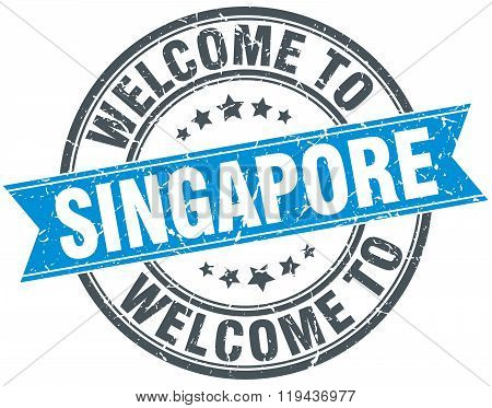 welcome to Singapore blue round vintage stamp