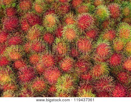 Rambutan Sweet Delicious Fruit Background.