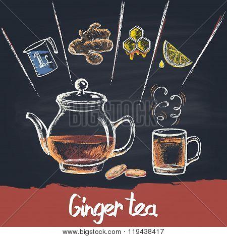 Colored chalk drawn illustration of ginger  tea  in teapot with ingredients. Hot beverage. Sugar fr