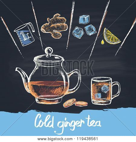Colored chalk drawn illustration of cold ginger tea in teapot with ingredients. Cold beverage.