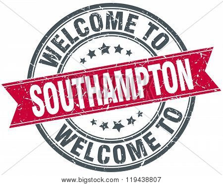 welcome to Southampton red round vintage stamp