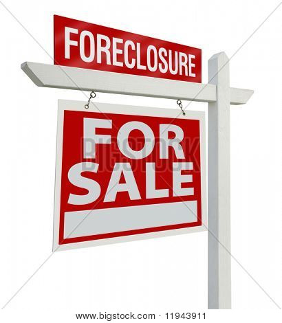 Foreclosure Home For Sale Real Estate Sign Isolated on a White Background with Clipping Paths - Left Facing.