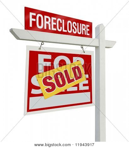 Sold Foreclosure Home For Sale Real Estate Sign Isolated on a White Background with Clipping Paths - Left Facing.