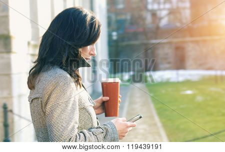 Businesswoman Use Her Mobile Phone