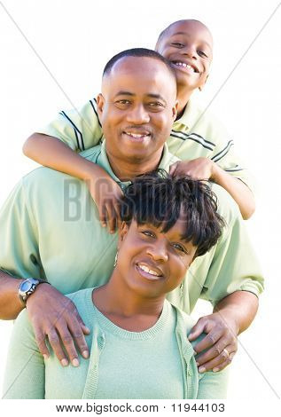 Attractive, Happy African American Family Isolated on a White Background.