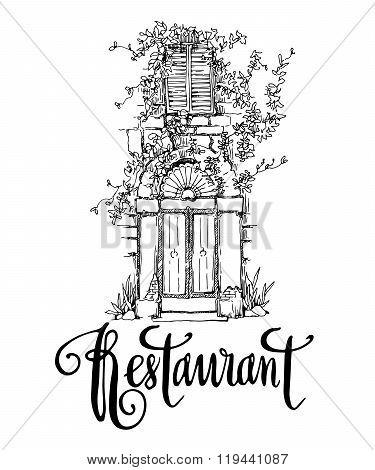 Vector sketch of old street. Restaurant callighaphy inscription.