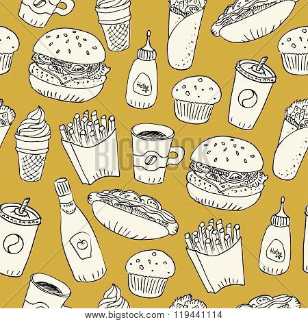 Hand Drawn Fast Food Doodle Seamless Pattern On Bright Yellow