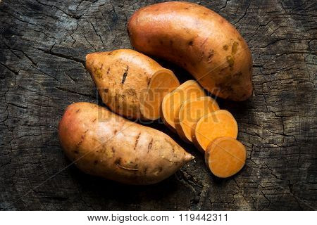 Raw sweet potatoes
