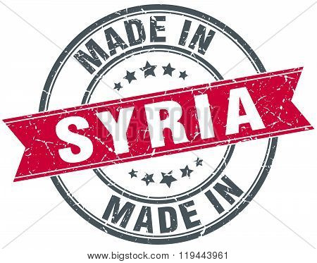 made in Syria red round vintage stamp