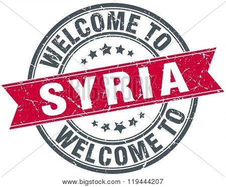 welcome to Syria red round vintage stamp