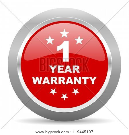 warranty guarantee 1 year red chrome web circle glossy icon