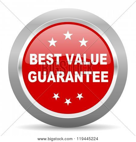best value guarantee red chrome web circle glossy icon
