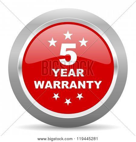 warranty guarantee 5 year red chrome web circle glossy icon