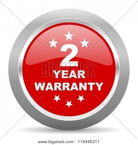 warranty guarantee 2 year red chrome web circle glossy icon