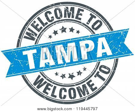 welcome to Tampa blue round vintage stamp