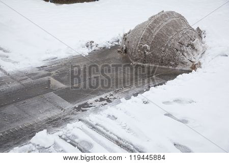 Heap Of Freshly Ploughed Snow In Winter