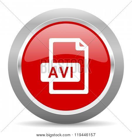 avi file red chrome web circle glossy icon
