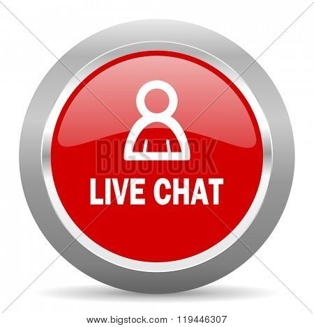 live chat red chrome web circle glossy icon