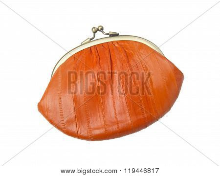 Vintage purse eel skin orange on a white background
