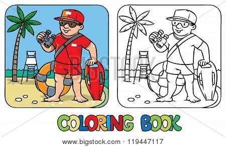 Funny lifeguard. Coloring book