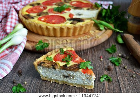 Quiche With Adygei Cheese, Mushrooms And Tomatoes