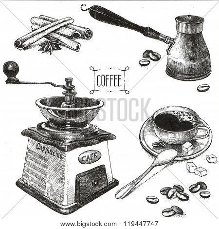 Coffee Accessories Drawings