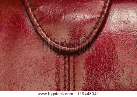 Old Red Purse  Leather Texture Background