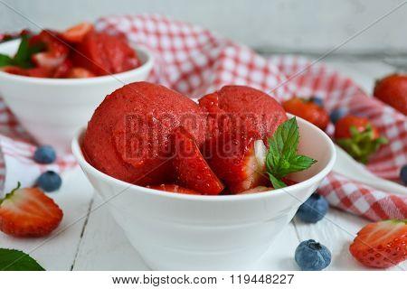 Cold, Bright Strawberry Sorbet, Berry Ice Cream