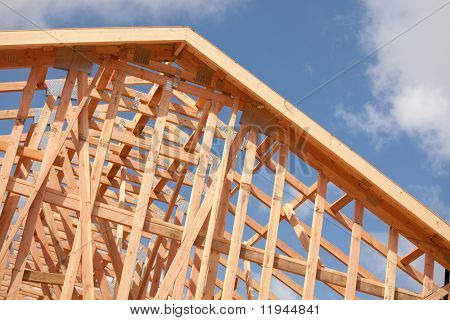 Abstract of New Home Construction Site Framing.