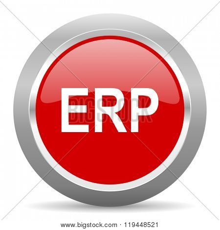 erp red chrome web circle glossy icon