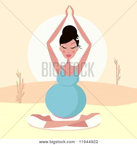 Beautiful pregnant mom practicing yoga pose