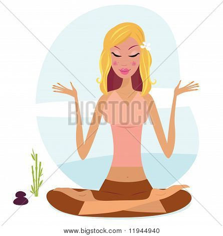 Blond hair woman practicing yoga meditation