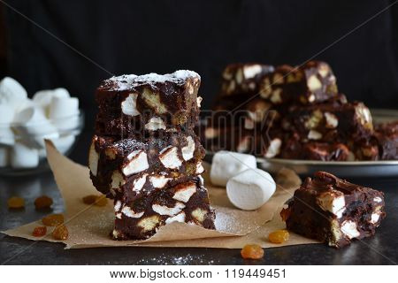 Chocolate Fudge With Raisins, Nuts And Marshmallow