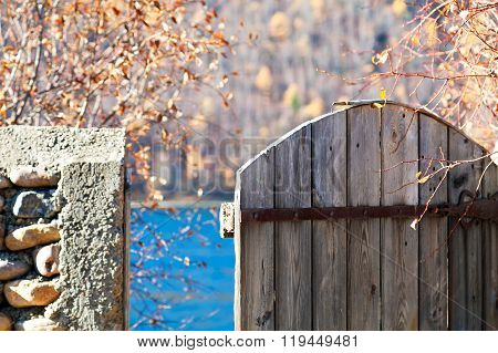 masonry and gates in autumn