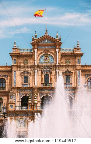 Plaza de Espana in Seville, Andalusia, Spain. Renaissance Reviva