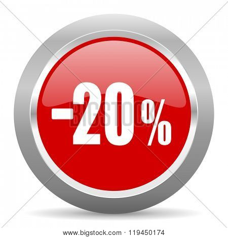 20 percent sale retail red chrome web circle glossy icon