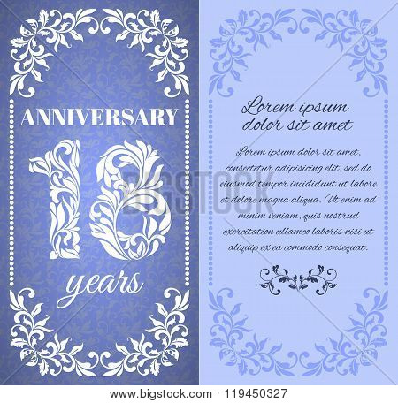 Luxury Template With Floral Frame And A Decorative Pattern For The 18 Years Anniversary. There Is A