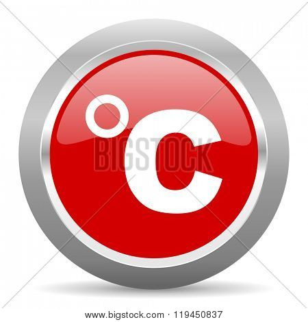 celsius red chrome web circle glossy icon