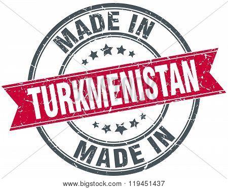 made in Turkmenistan red round vintage stamp