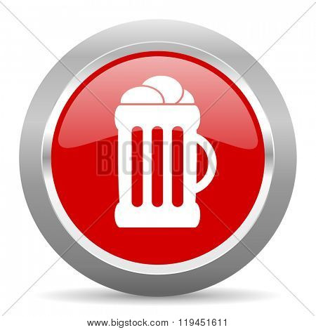 beer red chrome web circle glossy icon