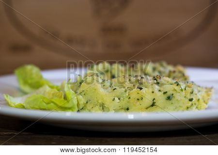 Fish Pie On Plate From Side.