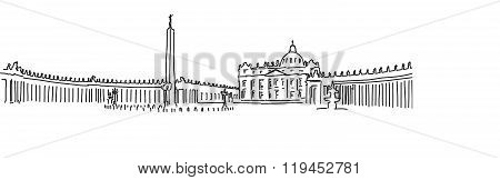 Hand Drawn Saint Peter Square And Saint Peter Basilica. Vatican