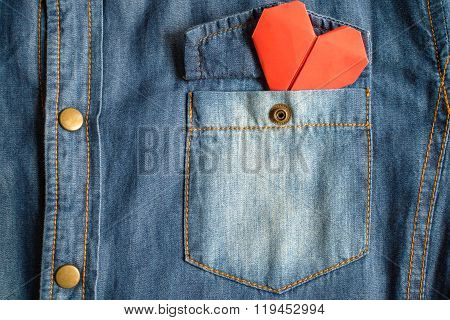 Blue Jean Shirt With Pocket And Red Heart